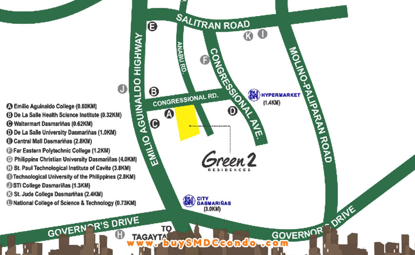 SMDC Green 2 Residences Cavite Condo Location Vicinity Map