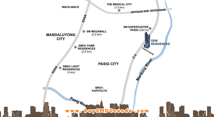 SMDC Gem Residences C5 Road Pasig City Condo Location Map