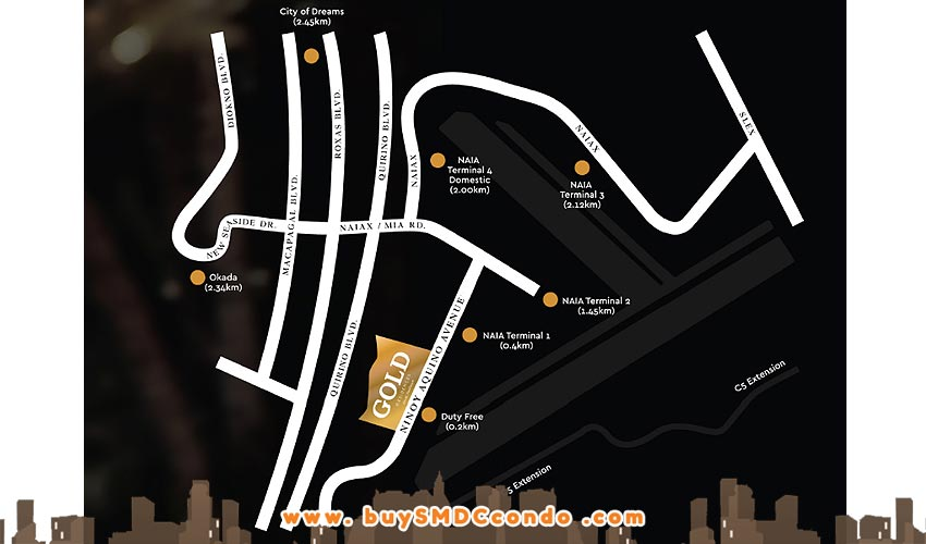 SMDC Gold Offices NAIA Manila Airport Paranaque Office Space Location Map