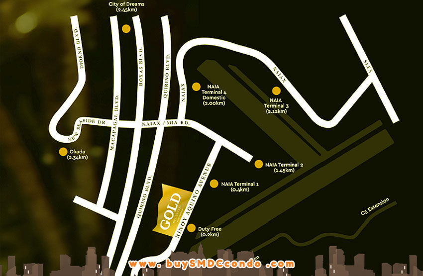 SMDC Gold Residences NAIA Manila Airport Paranaque Condo Location Map
