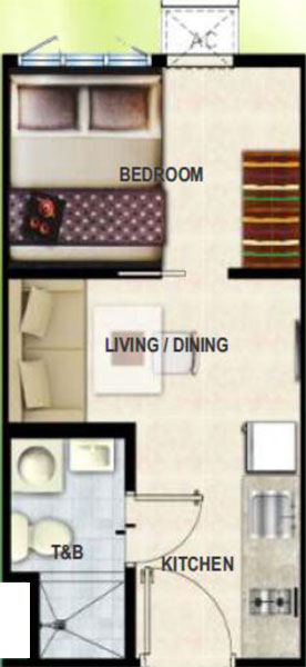 SMDC Grass Fern Residences SM North EDSA Quezon City    Condo 1-bedroom unit without balcony