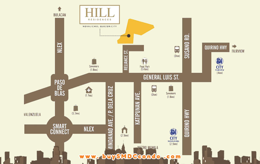 SMDC Hill Residences Novaliches Quezon City Condo Location Map