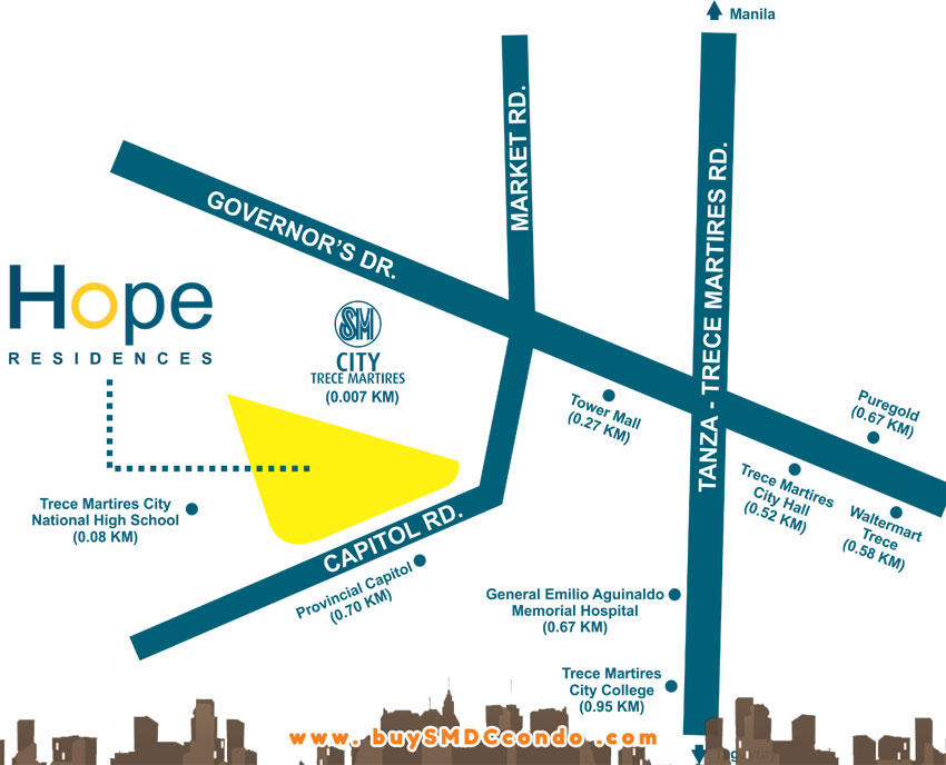 SMDC Hope Residences SM Trece Martires Cavite Condo Location Map