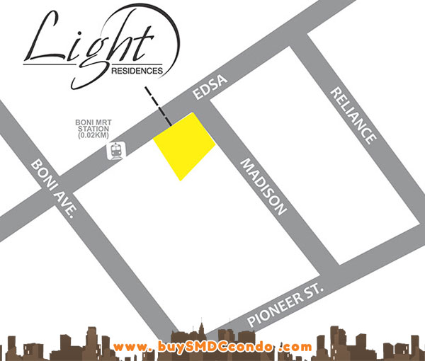 SMDC Light Residences EDSA Boni Mandaluyong City Condo Location Map