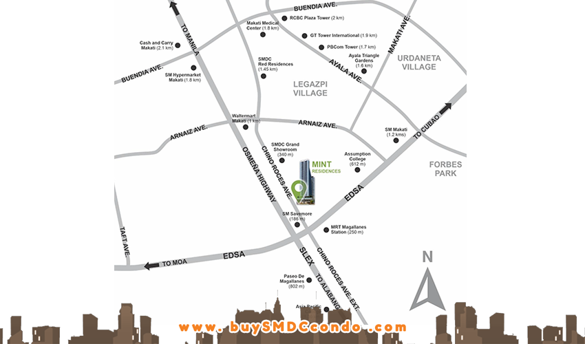 SMDC Mint Residences Chino Roces Makati Condo Location Map