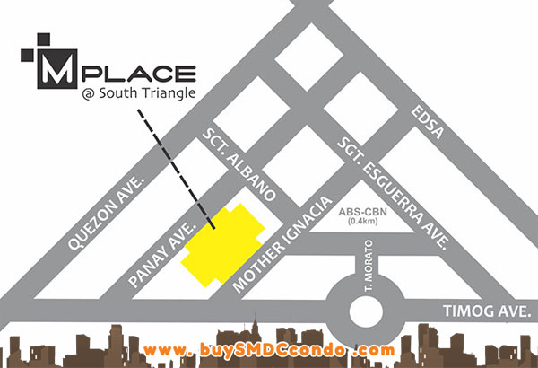 SMDC MPlace South Triangle Quezon City Condo Location Map