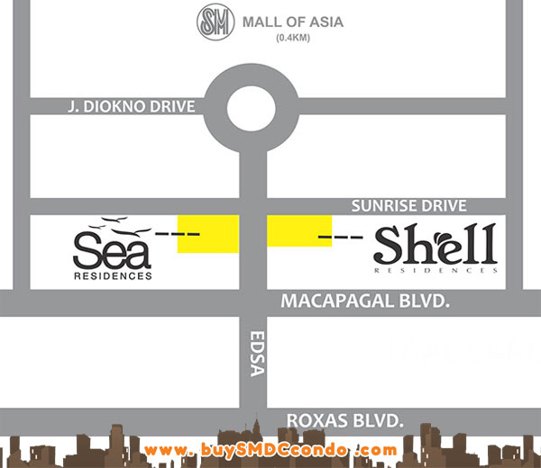 SMDC Shell Residences SM Mall of Asia Pasay City Condo Location Map