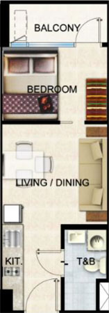 SMDC Shore 2 Residences SM Mall of Asia Pasay City Condo 1    -bedroom unit with balcony