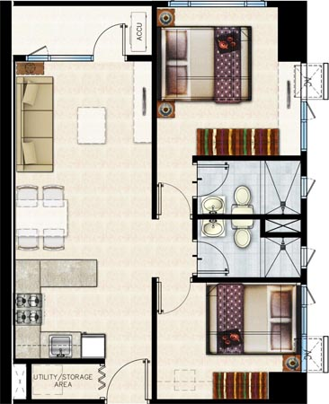 SMDC Shore 2 Residences SM Mall of Asia Pasay City Condo 2    -bedroom unit with balcony