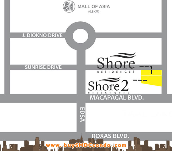 SMDC Shore 2 Residences SM Mall of Asia Pasay City Condo Location Map