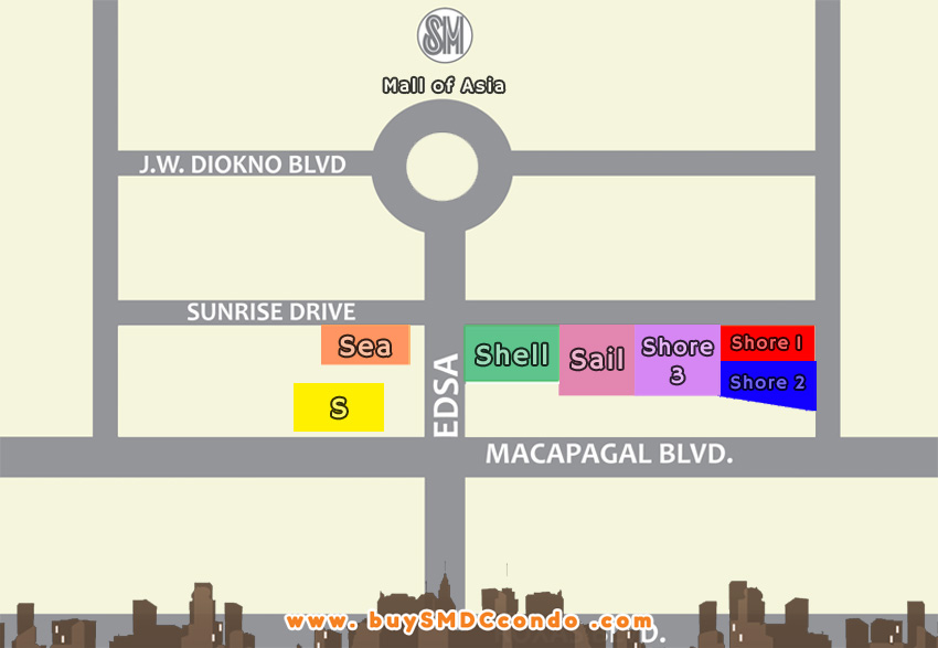 SMDC Shore 3 Residences SM Mall of Asia Pasay City Condo Location Map